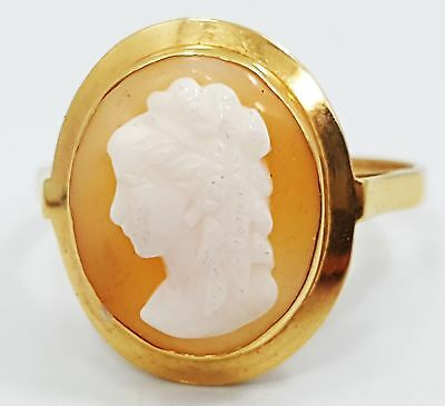 Vintage 14K Yellow Gold Pink Carved Shell Cameo Band Ring E1315