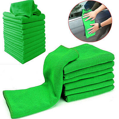 10x Green Microfiber Cleaning Auto Car Detailing Soft Cloths Wash Towel Duster.