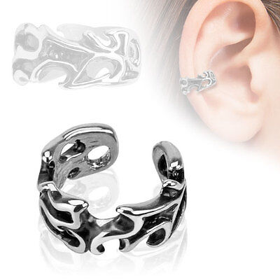 EAR CUFF ~Blätter Leaves~ Ohrstecker Conch Fake-Piercing No-Piercing silber Ring