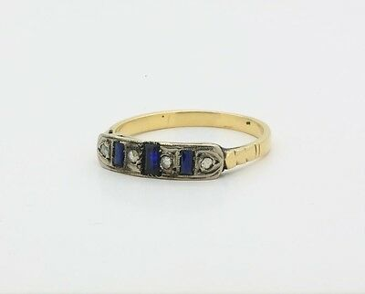 Antique Art Deco Ring in 18k Yellow Gold, with Diamonds & Synthetic Sapphire