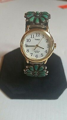 Watch Band, Ladies, Turquoise Petit Point on Sterling Silver, Handmade, Signed,
