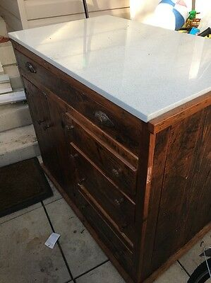 Kitchen Bench Island On Wheels With Cesar stone Bench + Storage