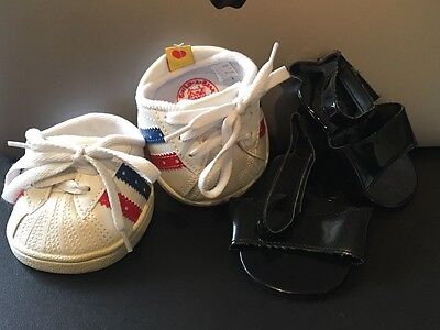 2 pairs teddy shoes - Build a bear sneakers and Unknown brand black sandals