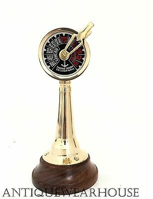Nautical Solid Brass Marine Ship Engine Room Style Telegraph With Wooden Decor