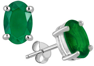 925 Sterling Solid Silver Emerald Supphire Gemstone Studded Earring OJER-1325EM