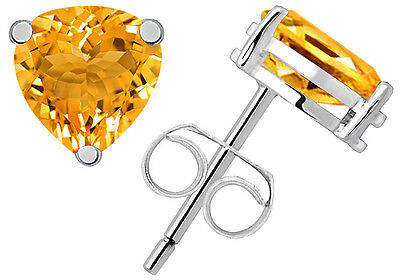925 Sterling Solid Silver Pear Shape Citrine Gemstone Studded Fine Earrings