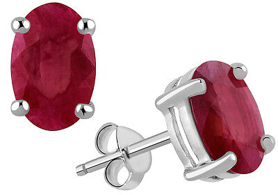 925 Sterling Solid Silver Ruby Supphire Gemstone Studded Earrings OJER-1325RU