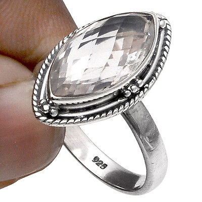Crystal Quartz Gemstone 925 Sterling Sterling Solid Silver Fine Ring US Sz 7""