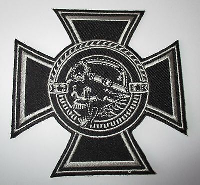 Maltese Cross Skull Patch Sew/Iron Men's shed Rider biker Motorcycle Vest