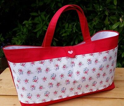 REDUCED! Red Knitting Bag with Cath Kidston Fabric Pockets, White Lining