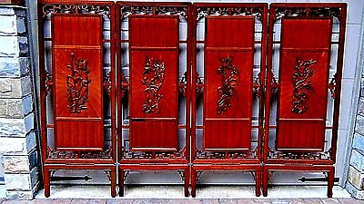 ANTIQUE 19c CHINESE ROSEWOOD CARVED 4-PANEL ROOM SCREEN BIRD AND FLOWER MOTIF