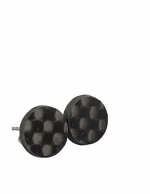 Glossy Real Carbon Fibre Stud Earrings, Black Studs