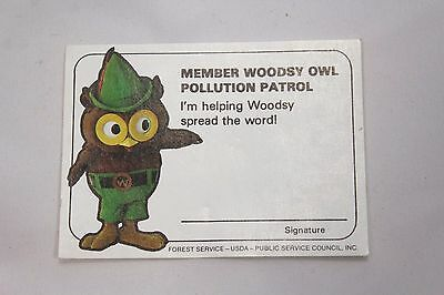 Vintage Woodsy Owl Member Pollution Patrol Card Nos Government