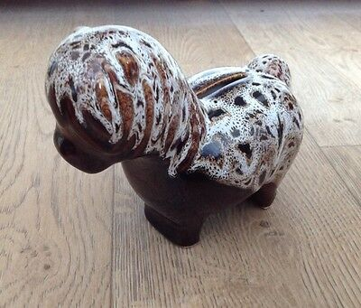 Fosters/ Kernewek ? dark brown honeycomb pottery Pony money bank