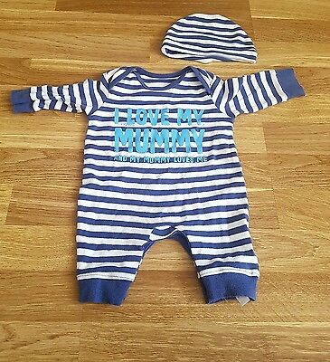 Baby Boys Striped Romper Suit 0-3 Months George at Asda