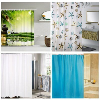 Fabric Extra Long Bathroom Shower Curtain Waterproof With 12 Hooks Standard Size