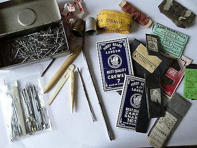 Vintage sewing needlework items inc needles pins tape measure