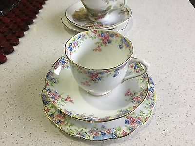 Crown China Trio Maytime Pattern  Made In England Last Set