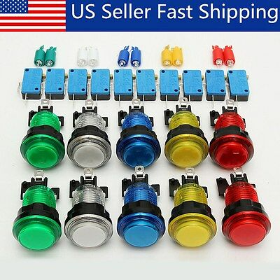 10Pcs LED Illuminated Full Colors Switch buttons For Arcade DIY Parts JAMMA Lot