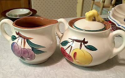 Vintage Stangl Pottery Fruit Creamer and Sugar Bowl with Lid