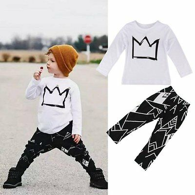 Toddler Kids Baby Boys Girls Long Sleeve Outfits Clothes T-shirt Tops+ Pants Set