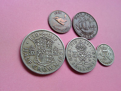 5 UK Coins George VI Year 1951 Collection Bulk Lot Birthday Present Gift (T615)