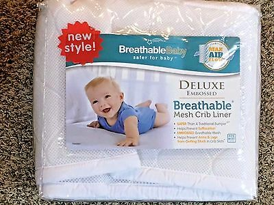 Breathable Baby Deluxe Embossed Breathable Mesh Crib Liner - White - 25201