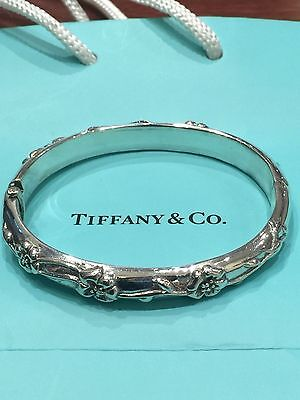 Fine and Rare Tiffany & Co Sterling Silver Nature Rose Bangle Bracelet