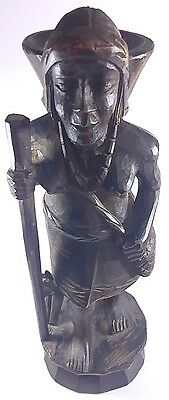 Ancient Wooden Handmade Antique Carved Heavy Wood Tribal Female Figure
