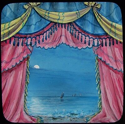 Glass Magic Lantern Slide THEATRE CURTAINS WITH SHIPS IN DISTANCE C1890 DRAWING
