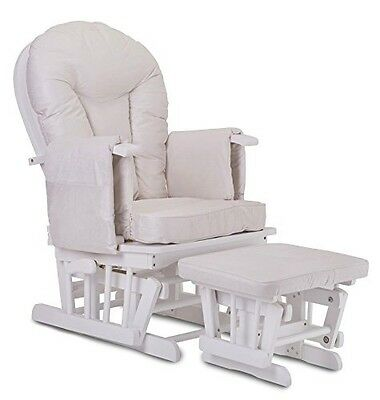 Bambino White Nursing Rocking Glider Chair with Footstool