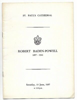 Robert Baden Powell / St Pauls Cathedral, Jubilee 1957 order of service
