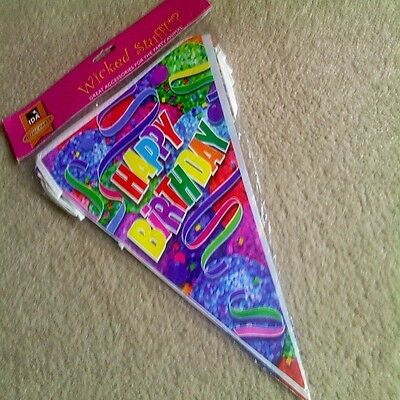 "Colourful Happy Birthday Pennant Flag Banner By Wicked Stuff (12"" each flag)"