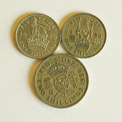 Set of three 1950 coins – Both English and Scottish shillings & a florin