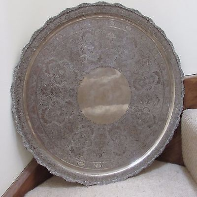 SUPERB LARGE ANTIQUE VINTAGE SOLID SILVER PERSIAN  TRAY TABLE TOP 2400 g