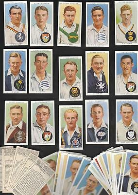 Free Post* Full Set 50 Cricketers 1938 Includes Don Bradman 79Yr Cigarette Cards