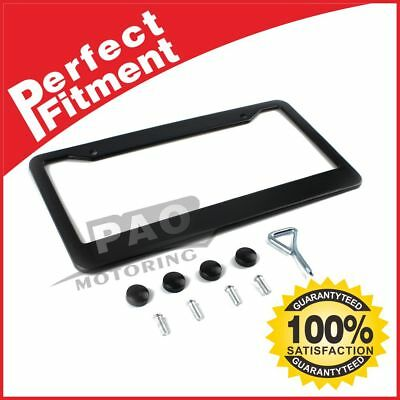 1Pcs Black Stainless Steel Metal License Plate Frame Tag Cover Screw Caps