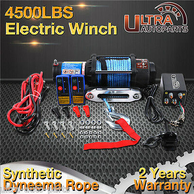 Electric Winch 4500lb/2040kg Wireless Remote Synthetic Rope 4WD Truck Boat ATV