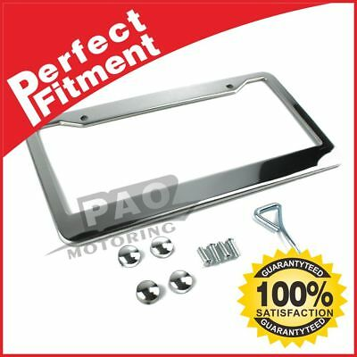 1Pcs Silver Stainless Steel Metal License Plate Frame Tag Cover Screw Caps