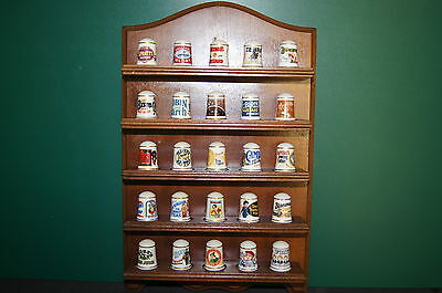 Set of Porcelain Franklin Mint 1982 advertising Thimbles + Display Case Stand