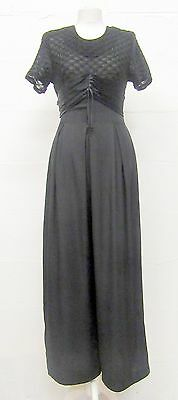 VINTAGE 90s SMART BLACK CROPPED WIDE LEG JUMPSUIT ALL IN ONE SIZE 8 PELICANA USA