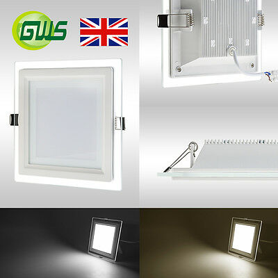 LED Crystal Glass Edge Recessed Round & Square Flat LED Panel Light Top Quality