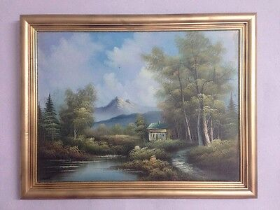 Very Large Vintage Oil On Canvas In Gold Gilt Frame, Signed Adams