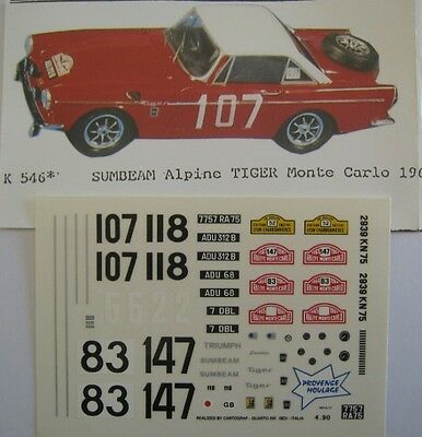 SUNBEAM ALPINE TIGER MONTE CARLO 1961 / 1964 et 1965 DECAL1/43e