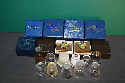 Mixed Lot Tudor Glass Crystal Caithness Swarovski Thimbles Vintage Collectable