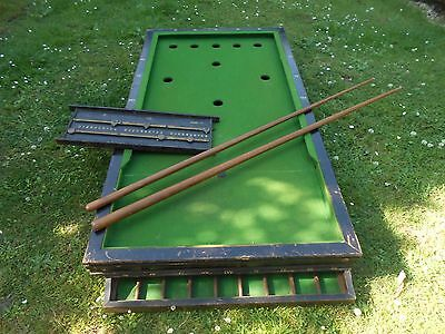 Vintage Bar Billiards Table With Cues And Score Board /  Ball Games