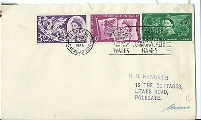Stamps, First Day Cover, Commonwealth Games, Cardiff 1958,  Commemorative Stamps