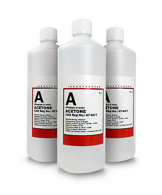 3 x 1L Pure Acetone Bottles - Acrylic Nail Remover Nail Polish Remover 99.8%