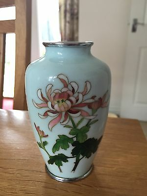 A beautiful antique Japanese duck egg blue cloisonné vase with Silver mounts