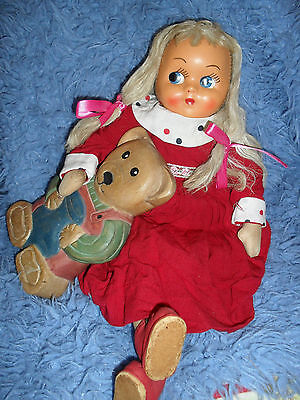 VERY TALL VINTAGE DOLL WITH WOODEN TEDDY / free 3KGS post & insurance